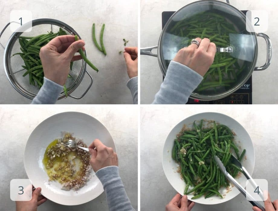 trimming and cooking haricots verts,