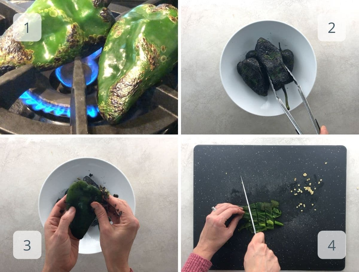 how to char and prep poblano peppers