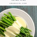 immersion blender hollandaise over asparagus
