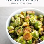 miso brussels sprouts in a white bowl
