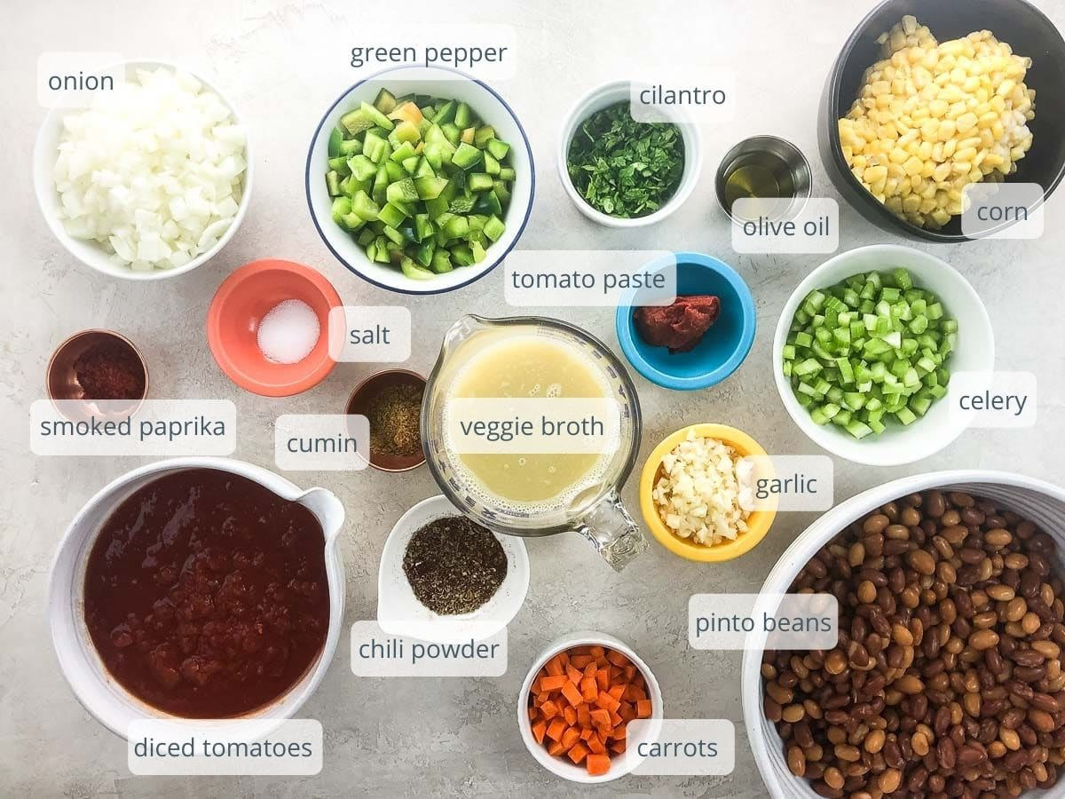 ingredients in bowls