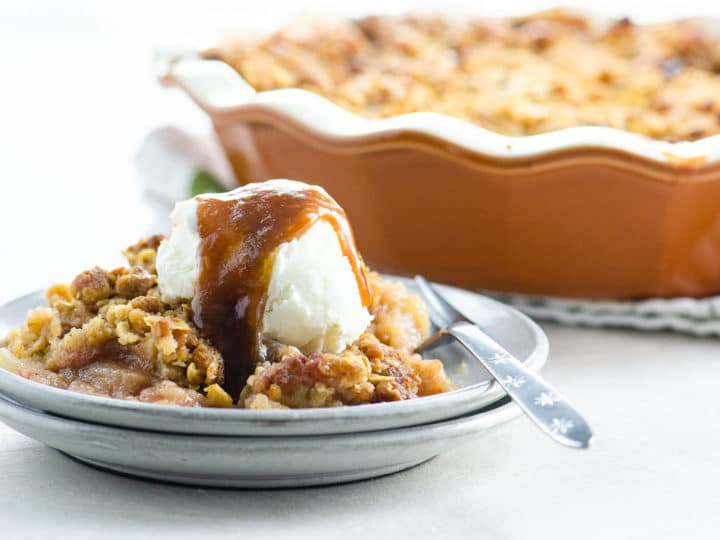 Best Old Fashioned Apple Crisp Recipe with ice cream and bourbon caramel sauce