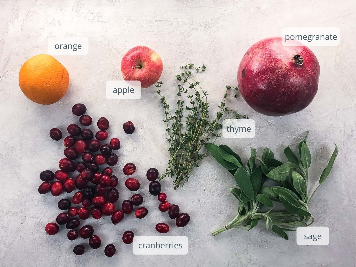 the herbs and fruits you'll need to decorate a turkey platter