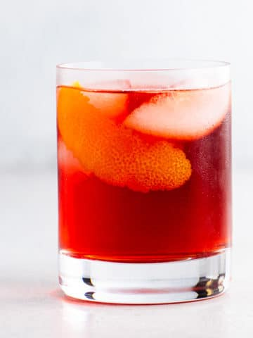 a mezcal negroni in a rocks glass