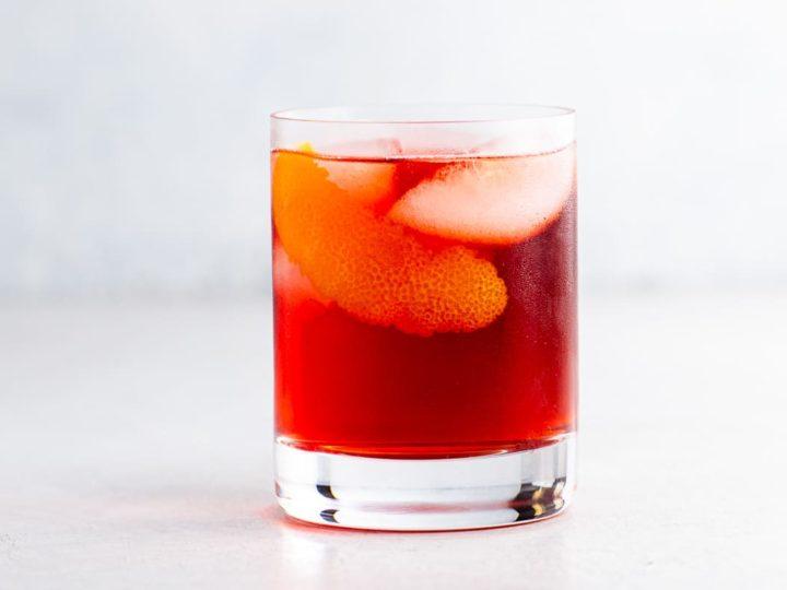 a mezcal negroni in a rocks glass