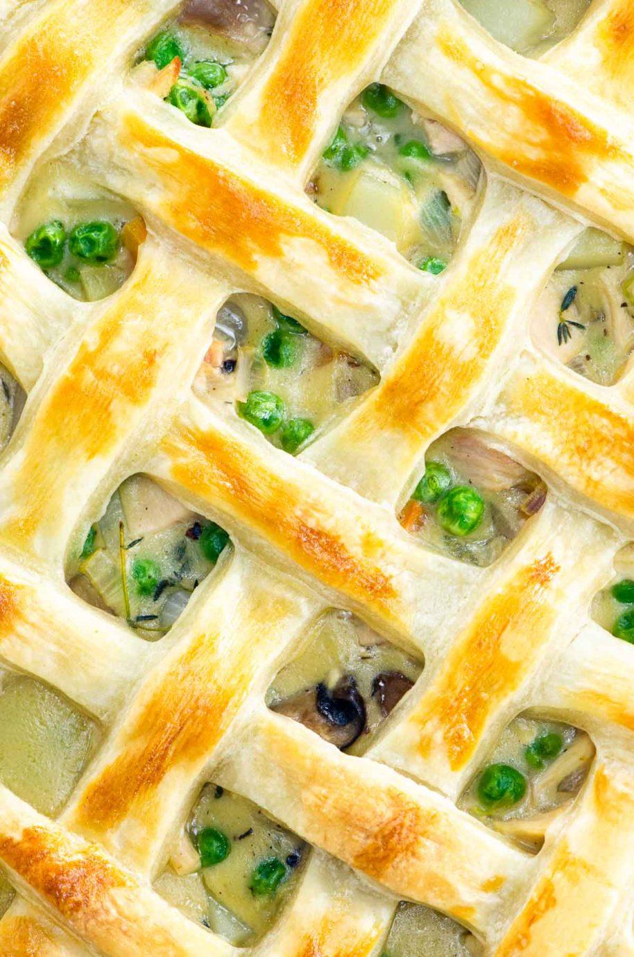 top of a pot pie with lattice crust