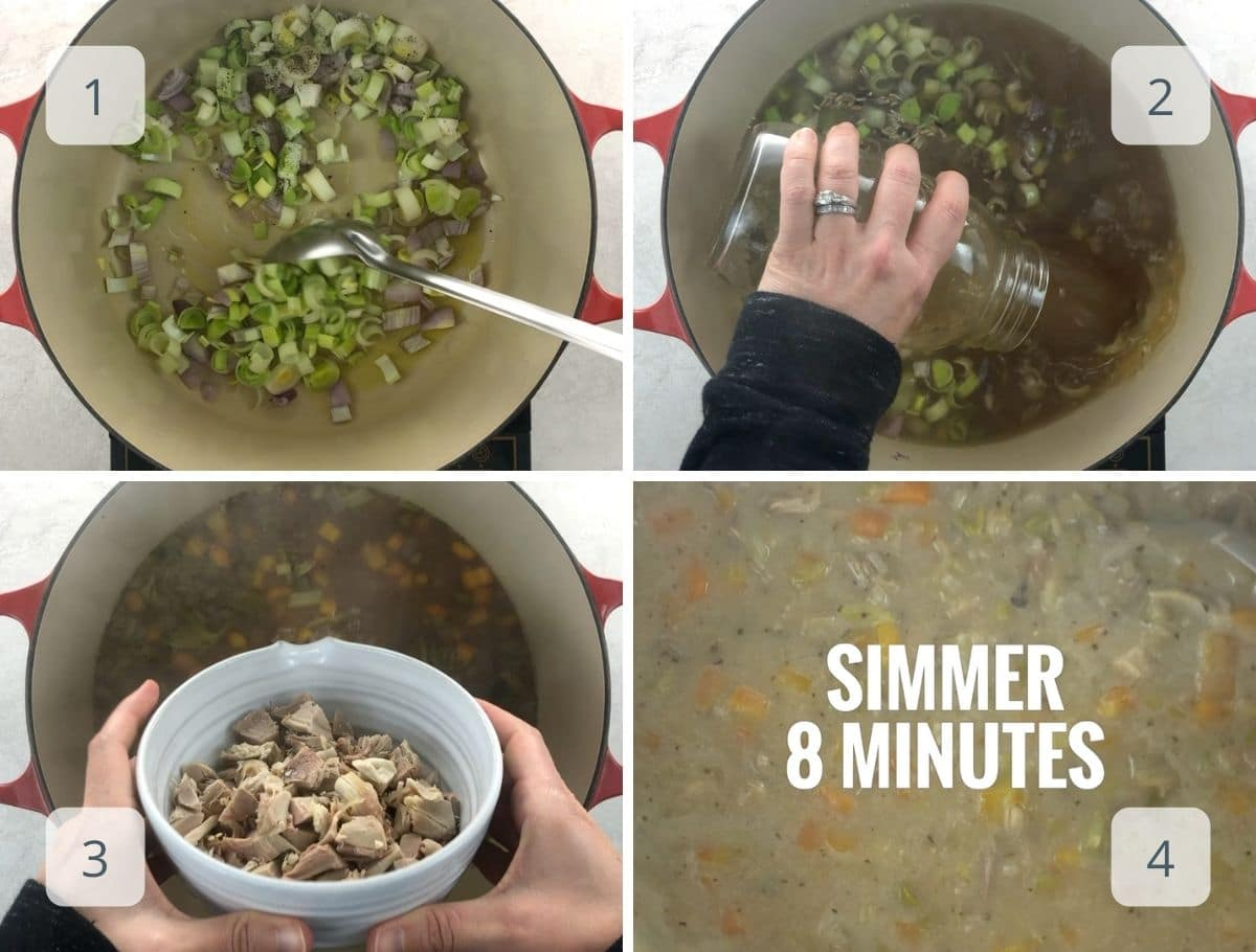 making turkey rice soup step by step