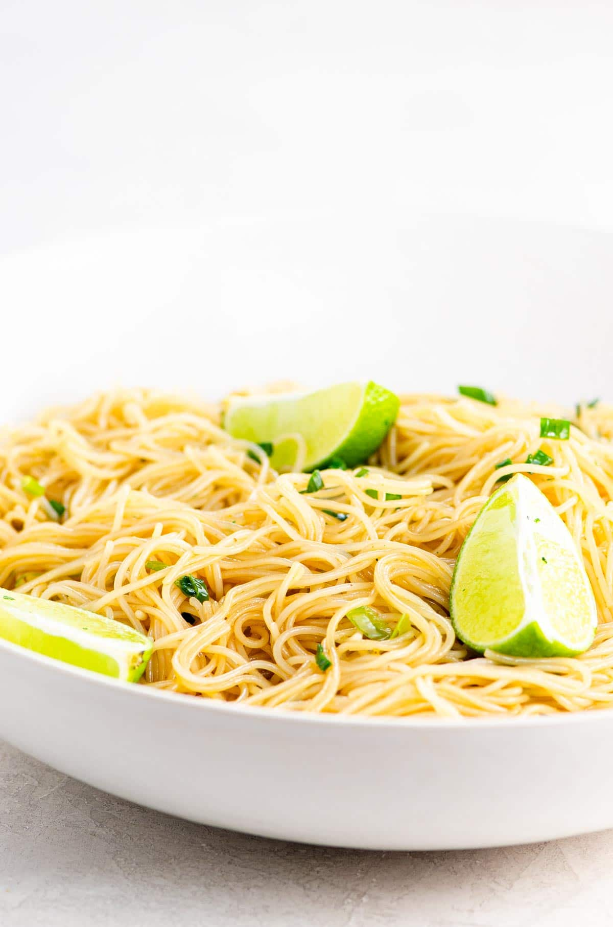Vegan rice noodles in a white bowl