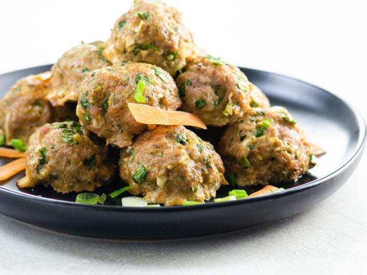 Asian pork meatballs on a plate