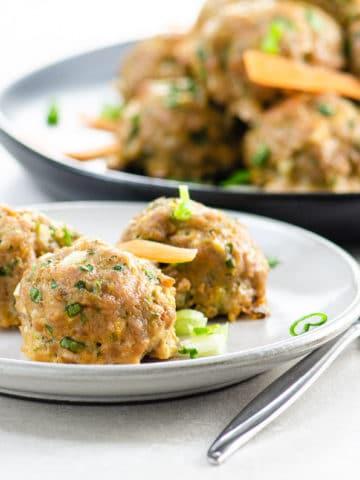 Asian-inspired pork meatballs on a plate