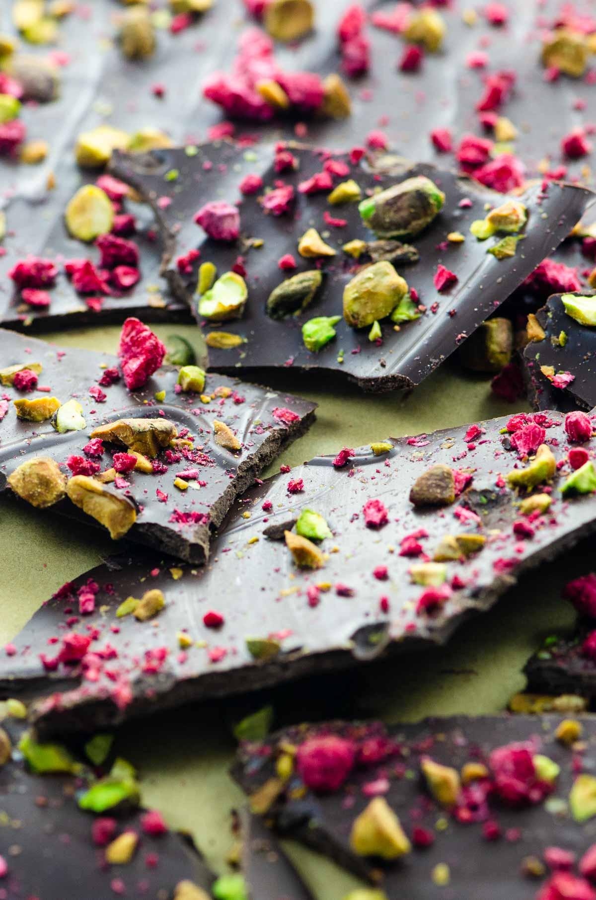 Shards of dark chocolate bark