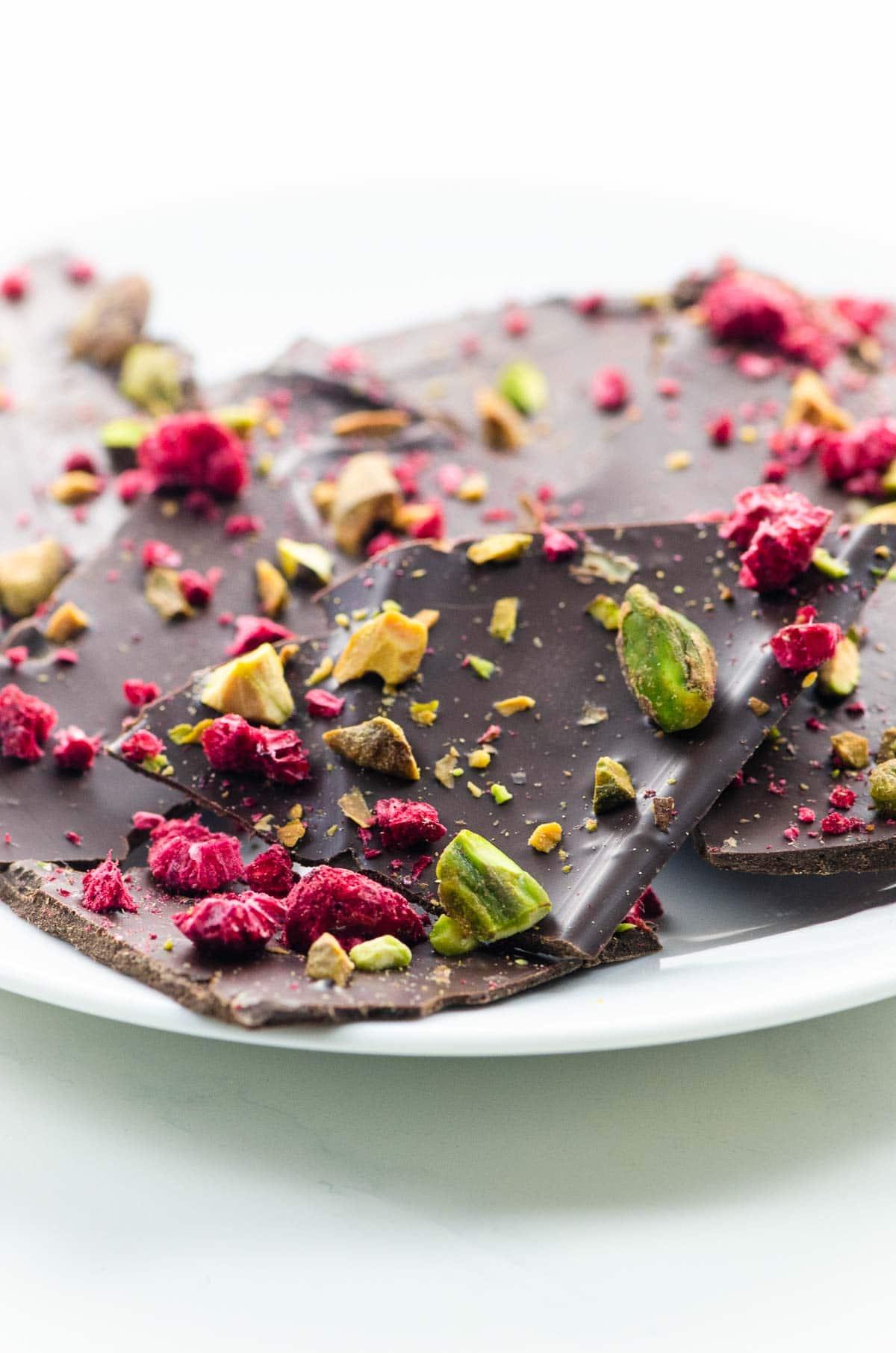 chocolate bark shards on a plate