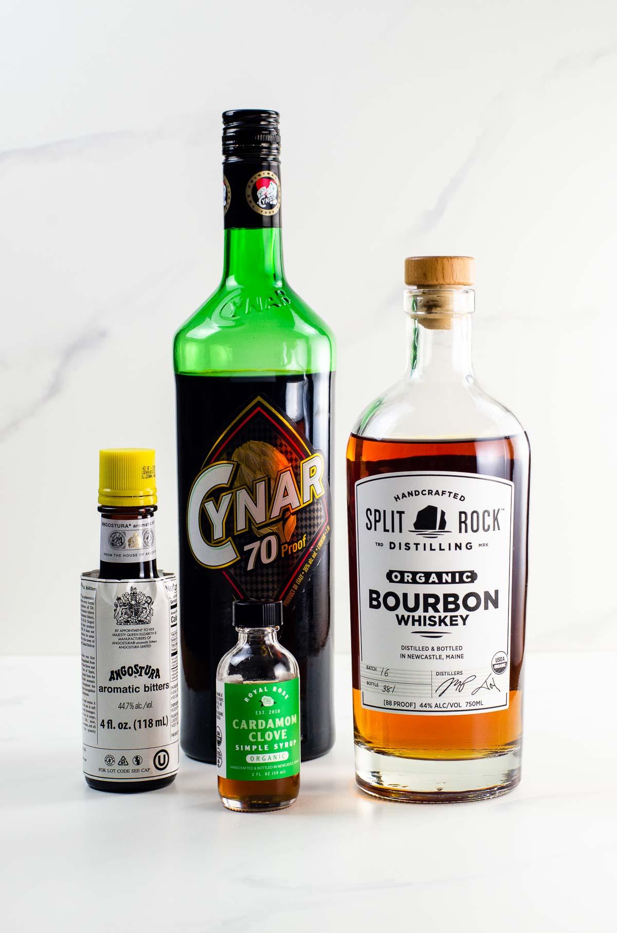 Split Rock bourbon, Cynar, Angostura bitters, and Royal Rose cardamom clove syrup