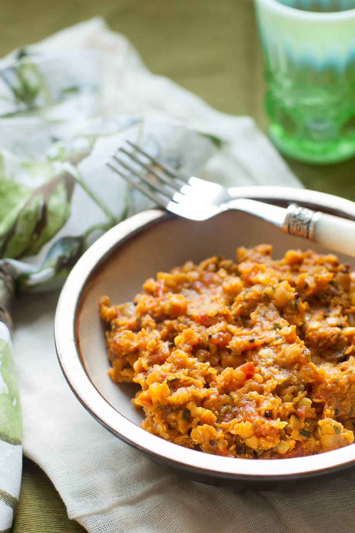 Cooked red lentils in a bowl