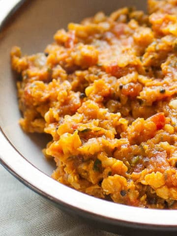 cooked red lentils, Ottolenghi-style, in a bowl
