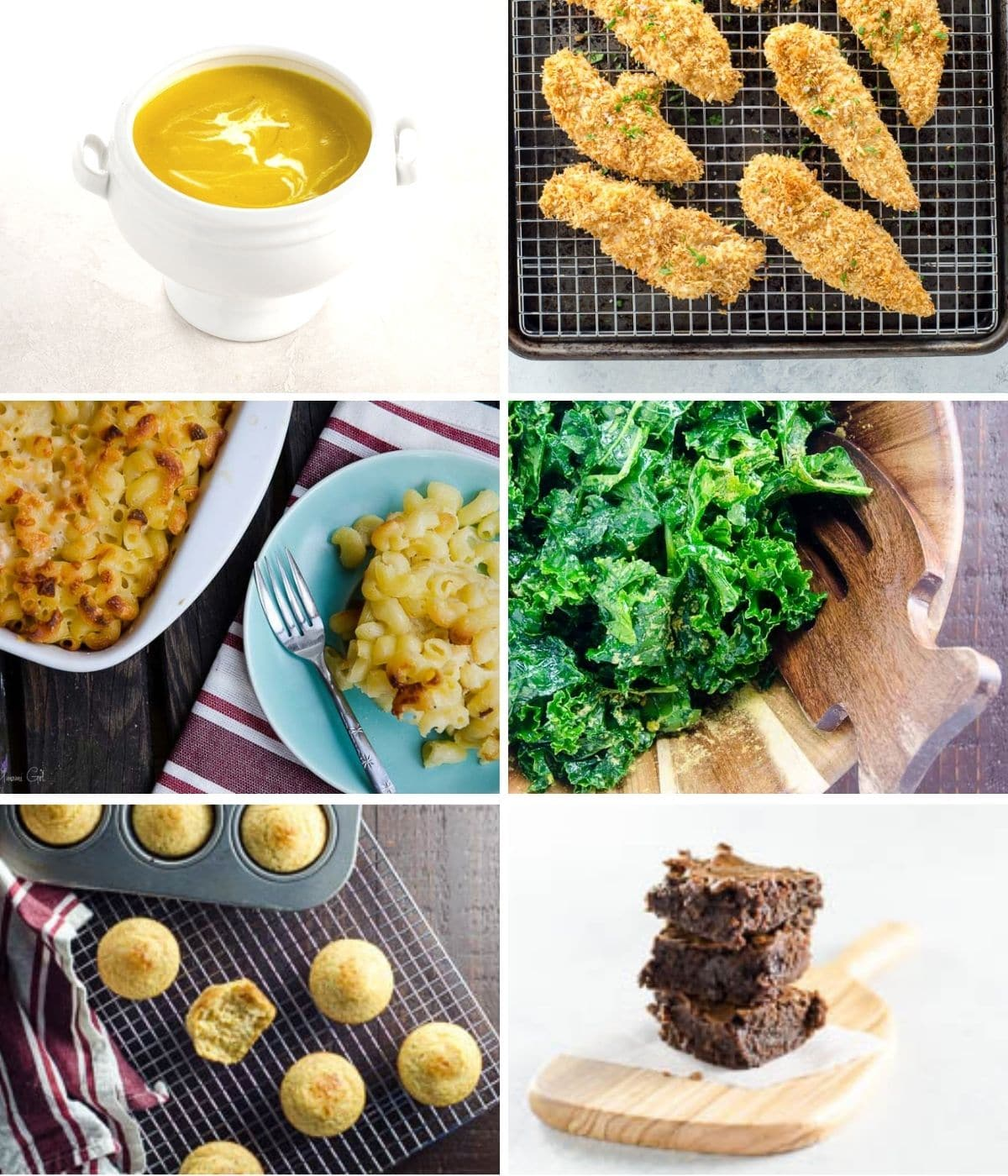 butternut soup, chicken tenders, mac and cheese, kale salad, cornbread muffins, and brownies