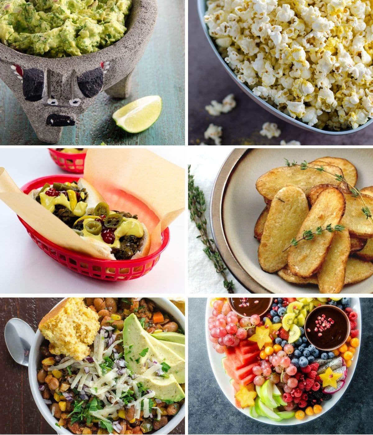 guacamole, popcorn, vegan cheesesteak, salt and vinegar potatoes, vegan chili, and fruit platter