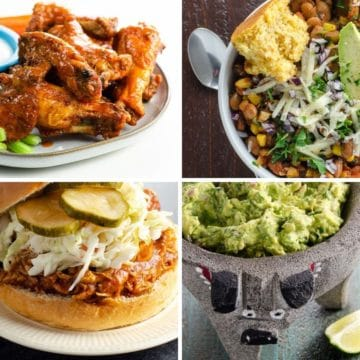 game day menu: wings, chili, bbq pulled chicken sandwich, and guac