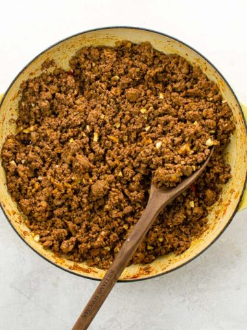 Ground beef taco meat in a skillet
