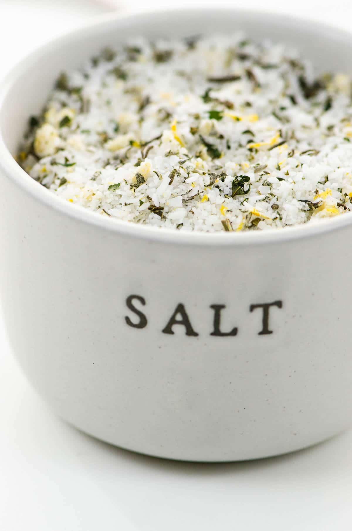 Herb salt in a ceramic crock