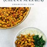 Vegan Chickpea Curry (Chana Masala) in a white bowl with spinach and rice