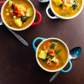 Vegan minestrone soup in mini le creuset pots