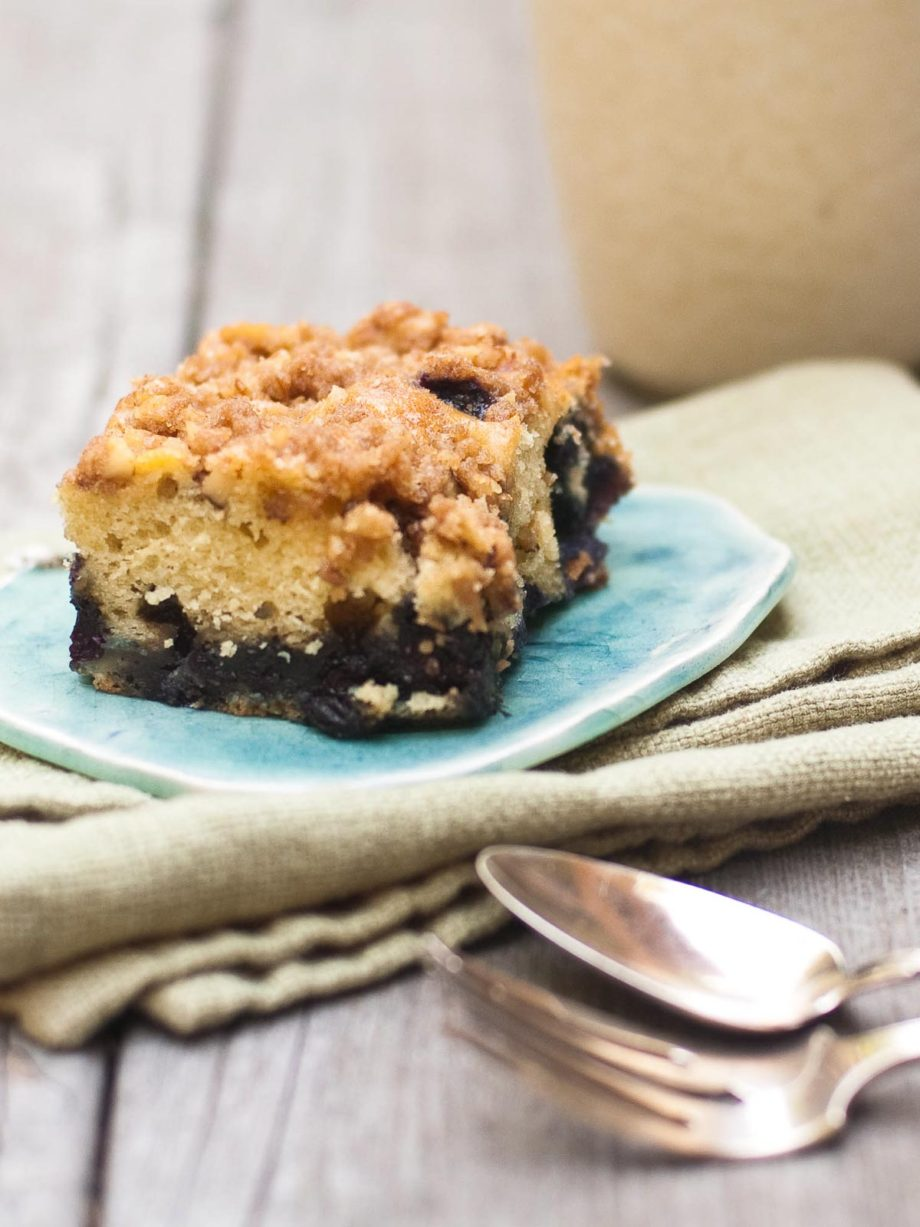 blueberry streusel coffee cake on a plate