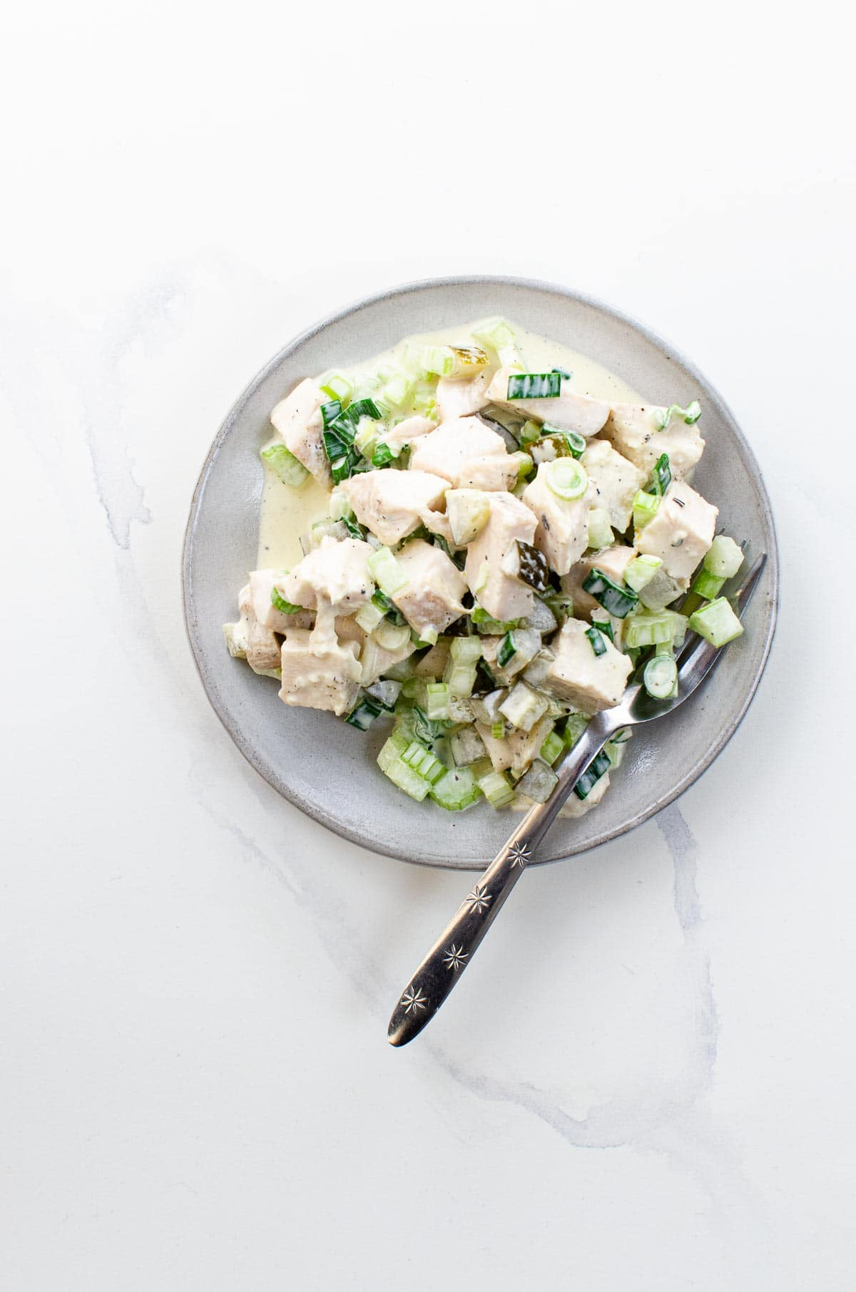 chicken salad with pickles on a plate