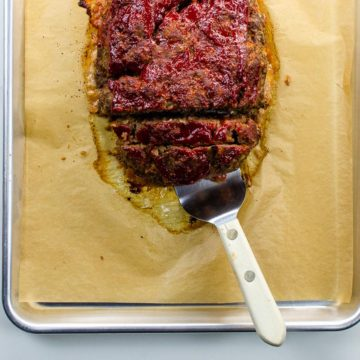 classic meatloaf recipe on a sheet pan