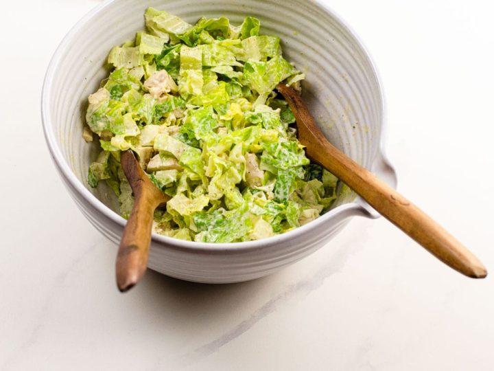 Chicken Caesar salad in a salad bowl