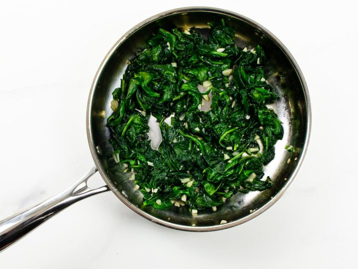Garlicky Sauteed Spinach in a pan