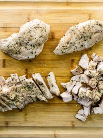 sous vide boneless chicken breast on a cutting board