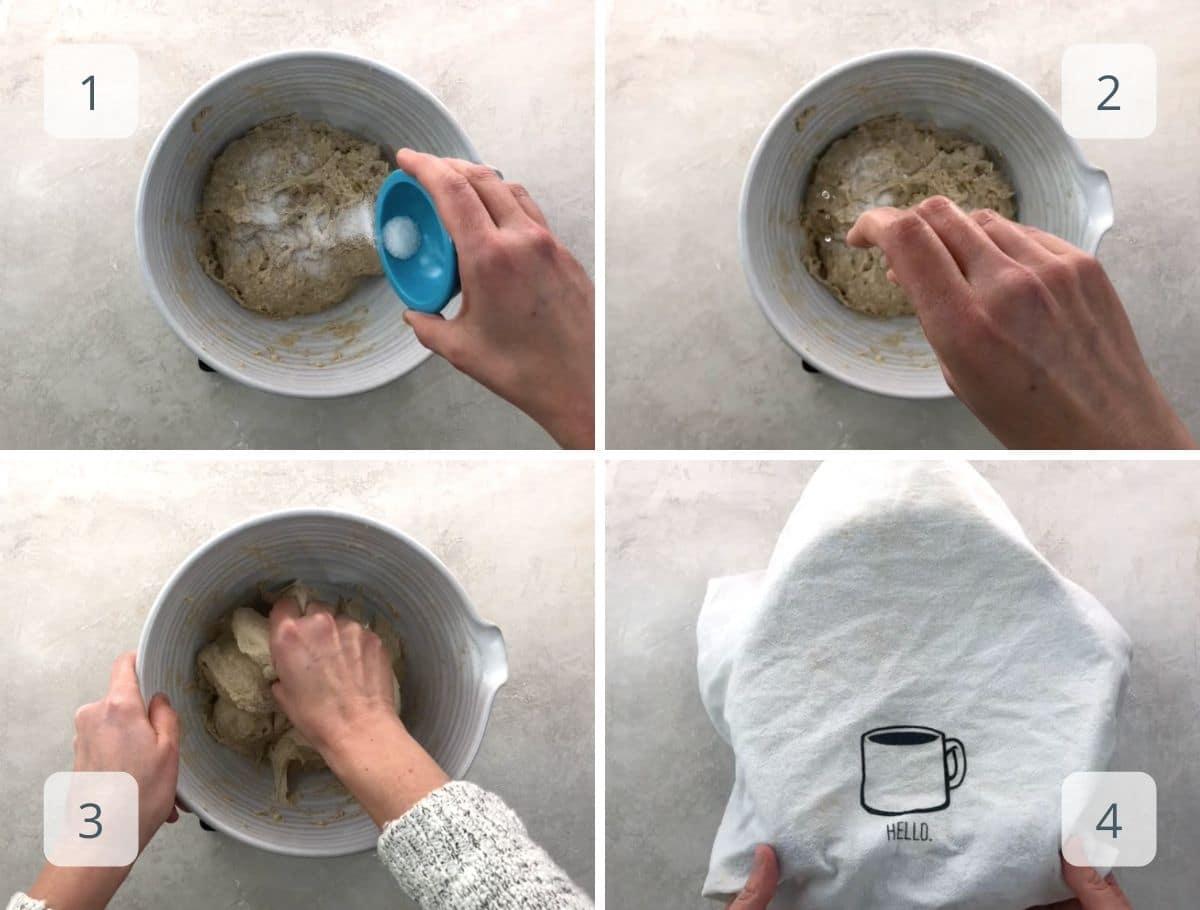 adding salt to the dough