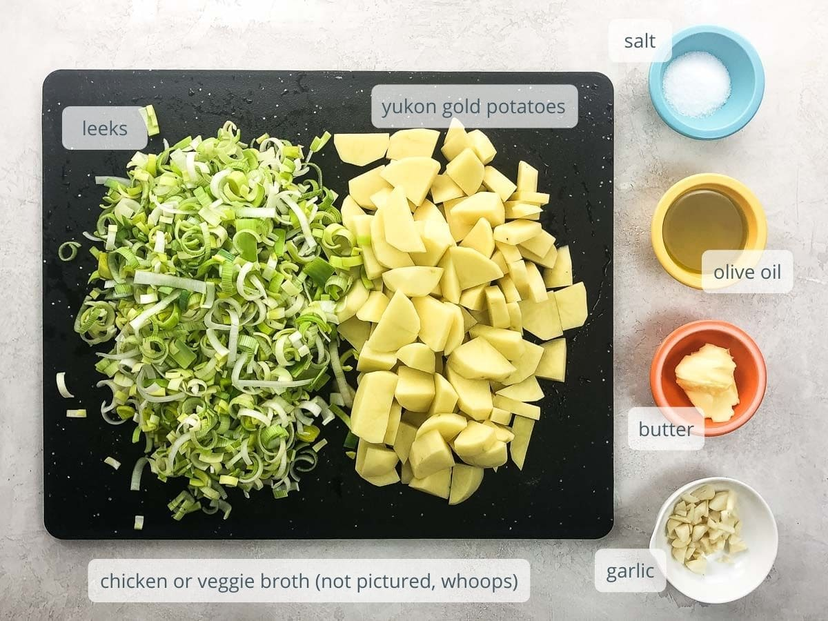 ingredients on cutting board and in bowls