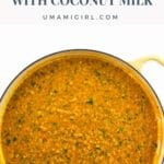 Red Lentil Dahl with Coconut Milk in a pan