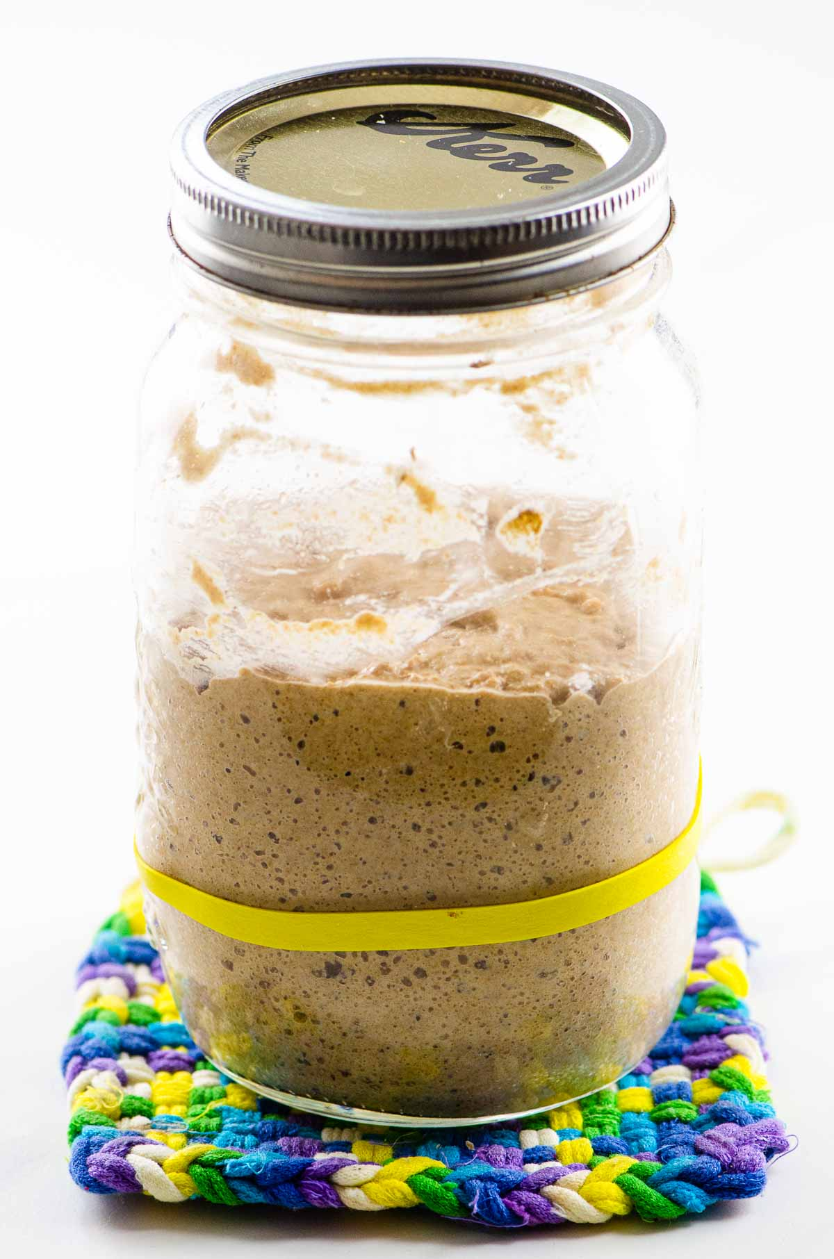 mature rye sourdough starter from day 5 on a trivet