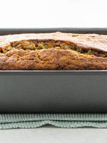 sourdough banana bread in a loaf pan