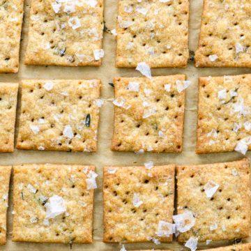 sourdough crackers on a sheet pan