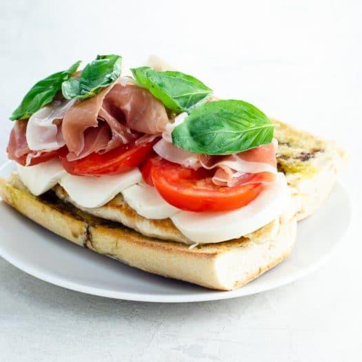 best summer recipes (chicken caprese sandwich with prosciutto)