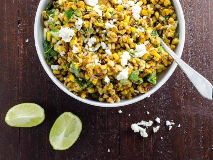 esquites (mexican street corn salad) in a white bowl