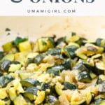 sautéed zucchini and onions in a yellow pan
