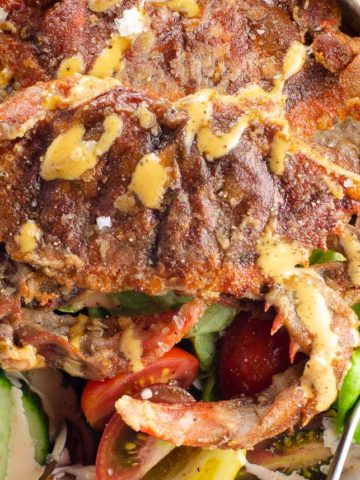 soft shell crab salad in a bowl