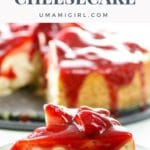 vanilla bean cheesecake with strawberry topping