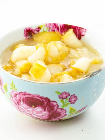 simple pear compote in a beautiful bowl (what to do with overripe pears)