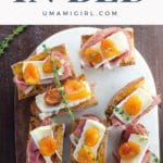 baguette pieces toasted and layered with prosciutto, brie, apricots, and thyme