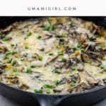 shiitake, potato, and garlic scape frittata in a cast iron pan