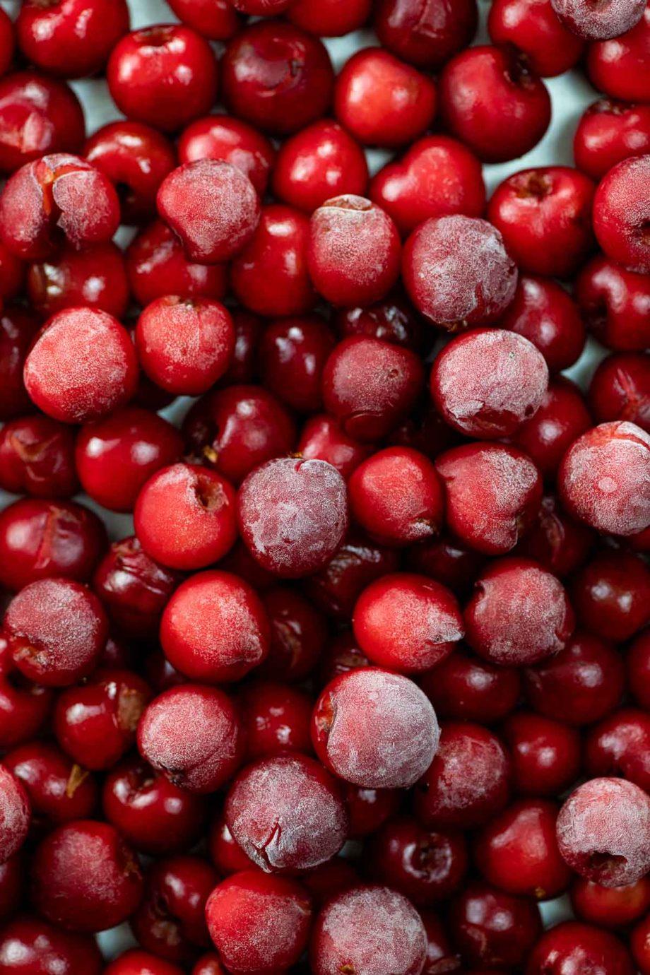 sour cherries on a baking sheet