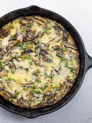 a frittata in a cast iron pan