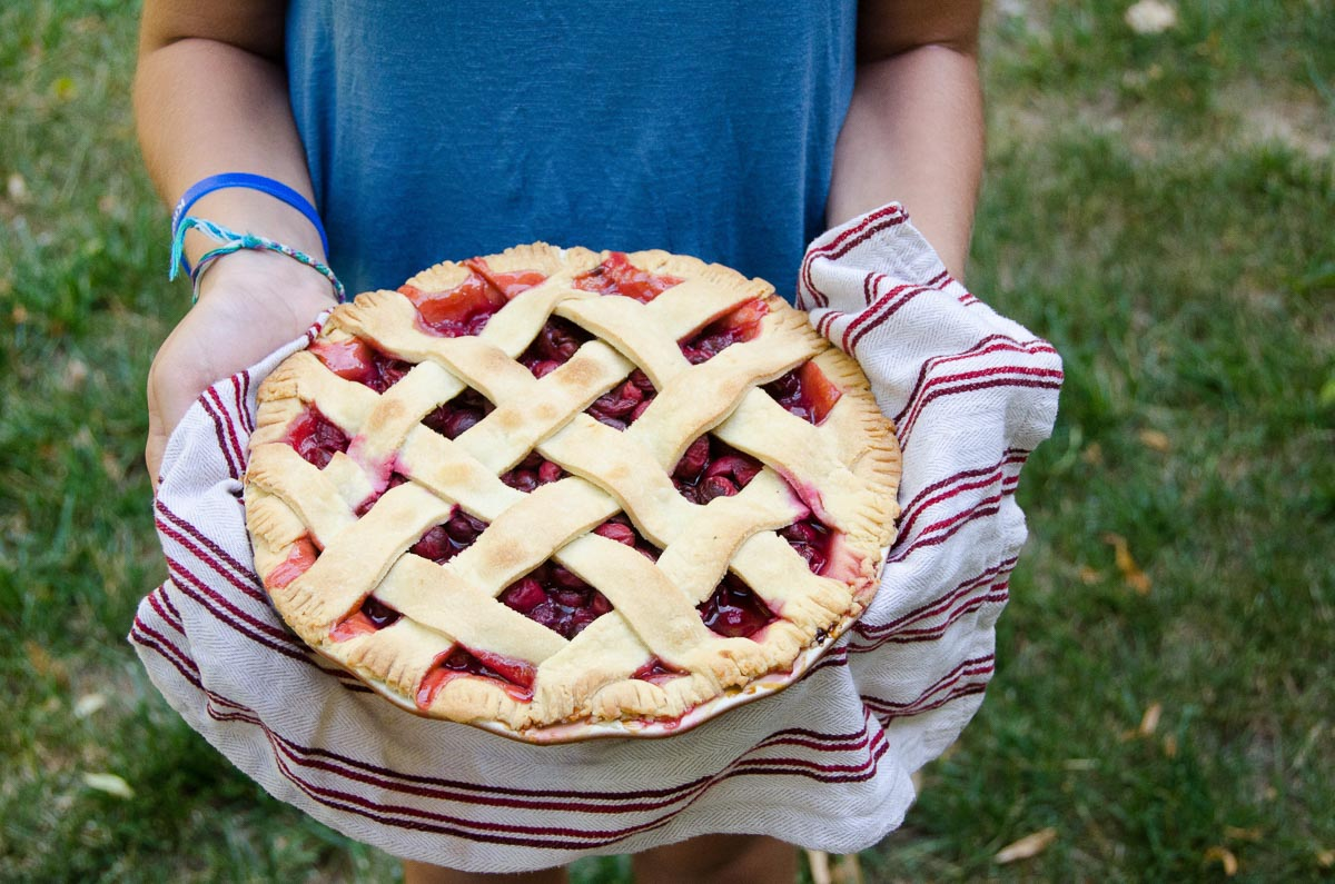 holding a sour cherry pie