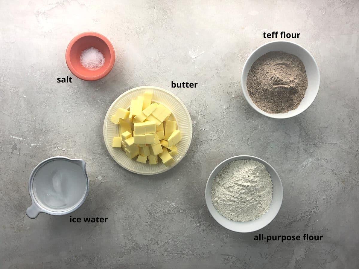 crust ingredients in bowls
